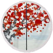 Fall Fall Fall Round Beach Towel