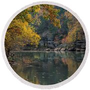 Fall In Arkansas Round Beach Towel