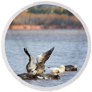Fall Migration At Whittlesey Creek Round Beach Towel