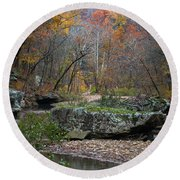 Fall On The Kings River Round Beach Towel