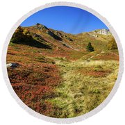 Fall On The Mountains Round Beach Towel