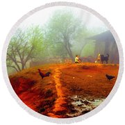 Family On A Hill In Sapa, Vietnam Round Beach Towel