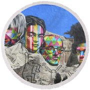 Famous Contemporary Artists Mural Round Beach Towel