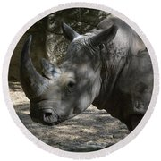 Fantastic Profile Of A Rhino With A Long Horn Round Beach Towel