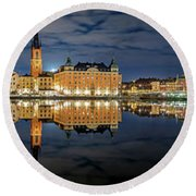 Fantastic Stockholm City Hall And Gamla Stan Reflection With Clouds Round Beach Towel