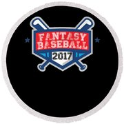 Fantasy Baseball Design 2017 Round Beach Towel