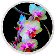 Fantasy Orchids In Full Color Round Beach Towel