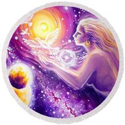 Fantasy Painting About The Flight Of A Dream In The Universe Round Beach Towel