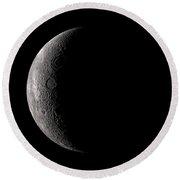 Far Side Of The Moon Round Beach Towel