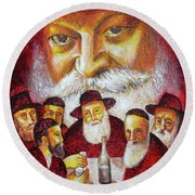 Farbrengen With The Rebbe Round Beach Towel