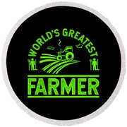 Farmer Shirt Worlds Greatest Farmer Gift Tee Round Beach Towel