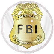 Fbi Badge Round Beach Towel