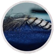 Feather Round Beach Towel by Ann E Robson
