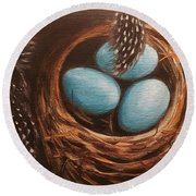 Feathers And Eggs Round Beach Towel