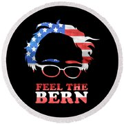 Feel The Bern Patriotic Round Beach Towel