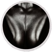 Female Nude Silver Oil Close-up 2 Round Beach Towel