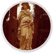 Goddess Statue Round Beach Towel