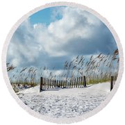 Fences In The Sand Round Beach Towel