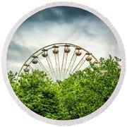 Ferris Wheel Behind Trees Round Beach Towel