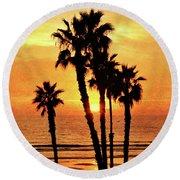 Fiery California Sunset Oceanside Beach Round Beach Towel