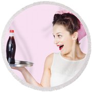 Fifties Style Female Waiter Serving Up Soda Round Beach Towel
