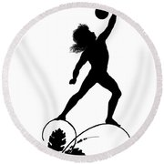 Figure Lifting Dumbbell, Illustration For Gottliche Jugen Ein Tag Aus Dem Sonnenlande Round Beach Towel