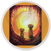 Fire And Earth Latte Stones Round Beach Towel by Michelle Pier