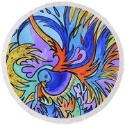 Fire And Rain Round Beach Towel by Nancy Cupp