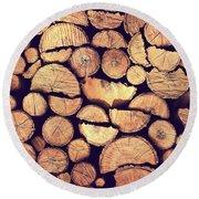 Firewood Logs Round Beach Towel