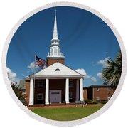 First Baptist Church North Myrtle Beach S C Round Beach Towel