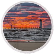 First Day Of Fall Sunset Round Beach Towel