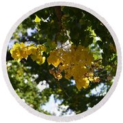First Golden Leaves Round Beach Towel