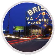 First Night Of The Bristol Sign With New Led Bulbs Round Beach Towel