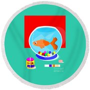 Fish Tank With Fish And Complete Kit Round Beach Towel