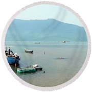Fisherman In Lang Co, Vietnam Round Beach Towel