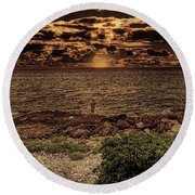 Fisherman On The Rocks Round Beach Towel