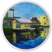Fisherman's Wharf In Victoria Round Beach Towel