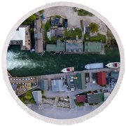 Fishtown Dam Panorama From Above Round Beach Towel