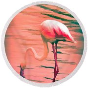 Flamingo Art Round Beach Towel