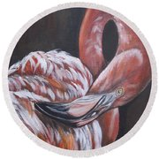 Flamingo Grace Round Beach Towel