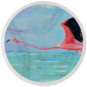 Flamingoes For Audrey Round Beach Towel