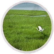 Salt Marsh Flight Round Beach Towel