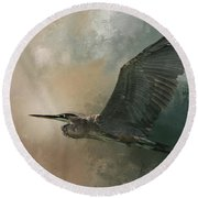 Flight Of The Great Blue Round Beach Towel