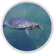 Floating Turtle Round Beach Towel
