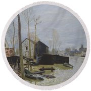 Flooding At Moret, 1889 Round Beach Towel