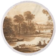 Floodplain With Watering Place  C  Round Beach Towel