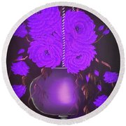 Floral Roses With So Much Passion In Purple  Round Beach Towel