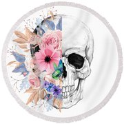 Floral Skull 2 Round Beach Towel