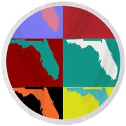 Florida Pop Art Map Round Beach Towel