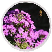 Flower And Bee Round Beach Towel